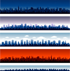 Set of vector cities silhouette time of day eps 10