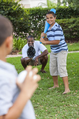 African American Father & Sons Playing Baseball