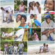 African American Family Montage Outside Active Beach
