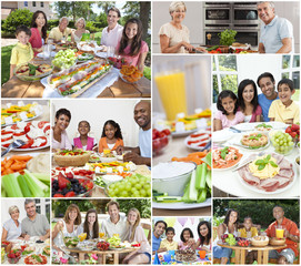 Montage Multicultural Families Eating Meal Outside