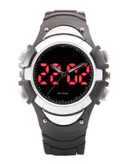 Dual Time Scrolling Display Digital LED Sport Watch black Diver.