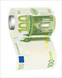 A toilet paper roll of 500 euro banknotes,