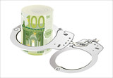 100 Euro rolled with handcuffs. isolated on white