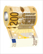 A toilet paper roll of 200 euro banknotes,