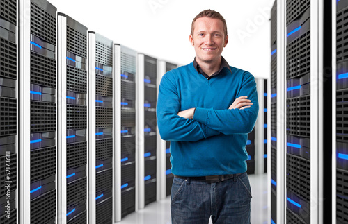 man in datacenter