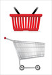 Shopping Cart and Basket.Vector