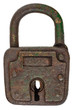 Antique brown rusted metal padlock isolated on white
