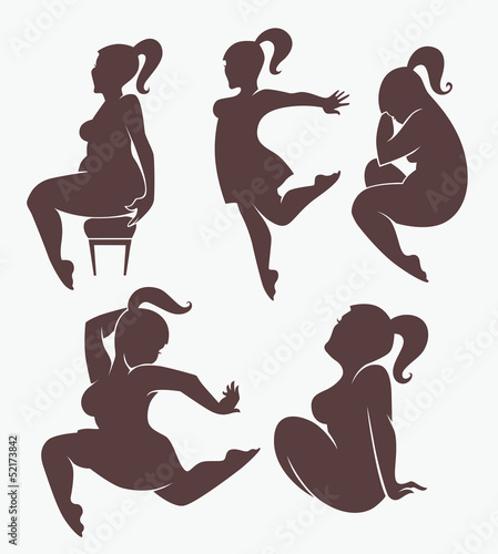 vector collection of fat but beautiful and happy woman silhouett