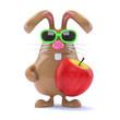 Chocolate bunny eats an apple every day