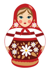 Russian doll in red with details