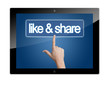 Tablet like and share button
