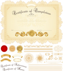 Certificate / Diploma template. Guilloche pattern, borders