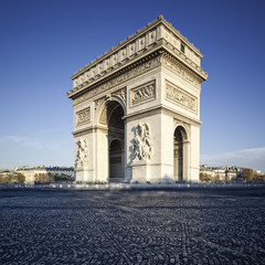 Famous view of the Arc de Triomphe