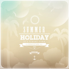 Summer Holiday Adventure  / with anchor, sunrise and label
