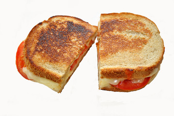 Grilled Cheese with Tomatoes Isolated on White