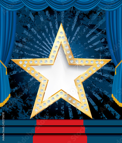 blank golden star with diamonds on blue stage