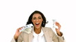 Cheerful businesswoman holding dollars and jumping