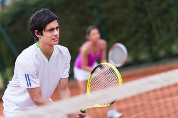 Tennis players playing doubles