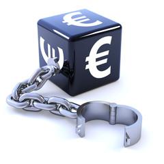 Black euro symbol and shackle