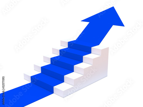 Staircase with blue carpet arrow