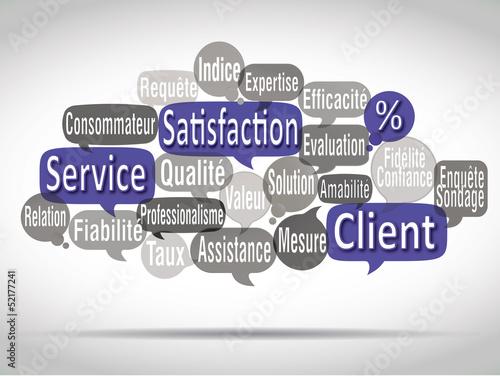 nuage de mots bulles bleues : satisfaction client