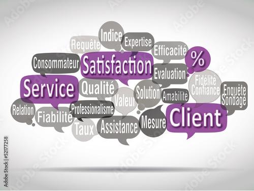 nuage de mots bulles violetes : satisfaction client