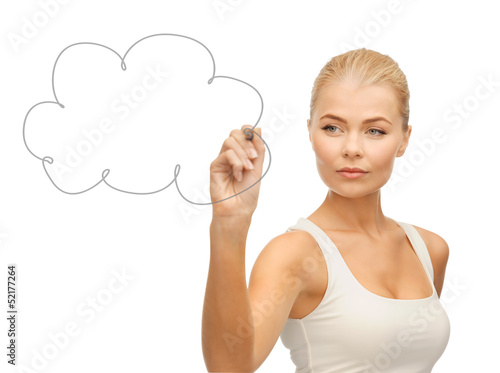 woman drawing cloud in the air