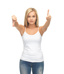 woman with thumbs up and down