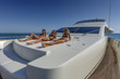 Italy, Tyrrhenian sea, 82' luxury yacht, bow sundeck