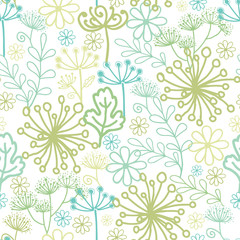 Vector Mysterious green garden seamless pattern background with