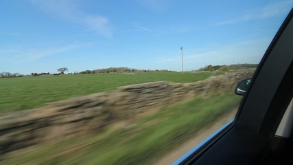 Drive in the country. Somerset stone walls.