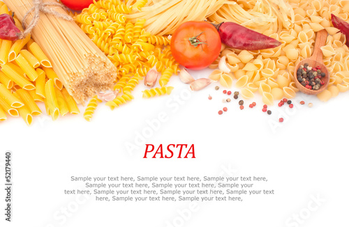 Different types of Italian pasta and spices