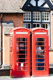 telephone booths, Stratford-upon-Avon, Warwickshire, England poster