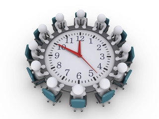 Meeting of businessmen around a clock-table