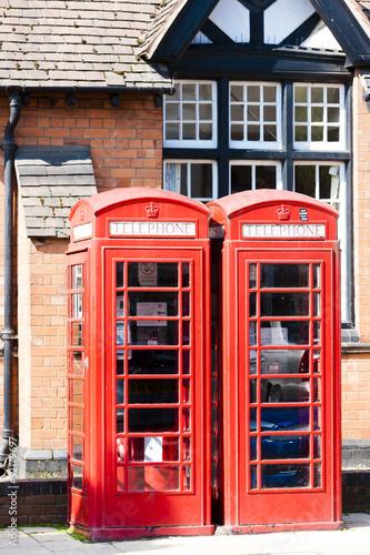 poster of telephone booths, Stratford-upon-Avon, Warwickshire, England