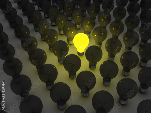 Unique light bulb amongst others