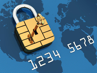 Credit card security chip as padlock,safe banking