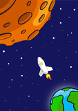 Rocket Flying Through Outer Space. From Earth To Red Planet