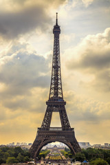 Eiffel Tower landmark, view from Trocadero. Paris, France.