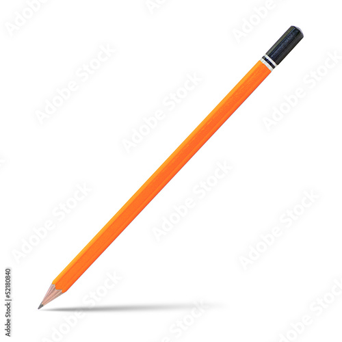 Orange pencil isolated on white, clipping path.