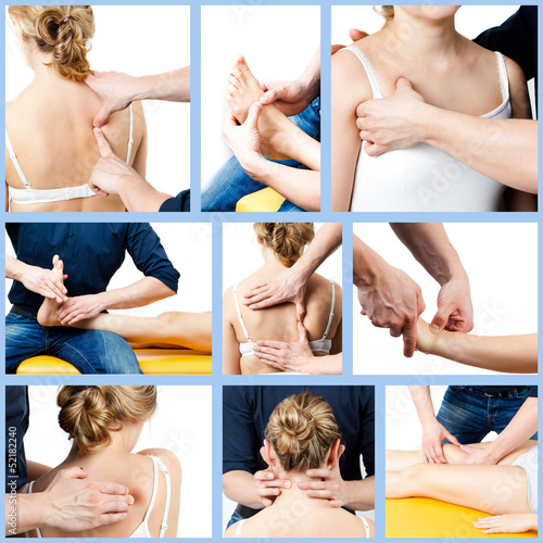 massage collage.  Massage therapist giving a massage.