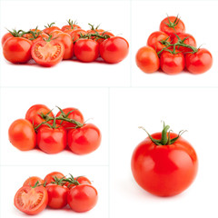 set of red tomato isolated on white background. Fresh tomatoes