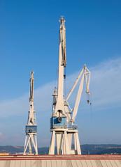 Three cranes in a shipyard