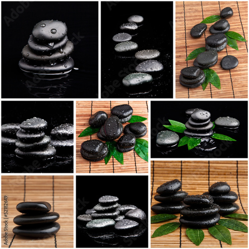 zen stones and leaves with water drops.