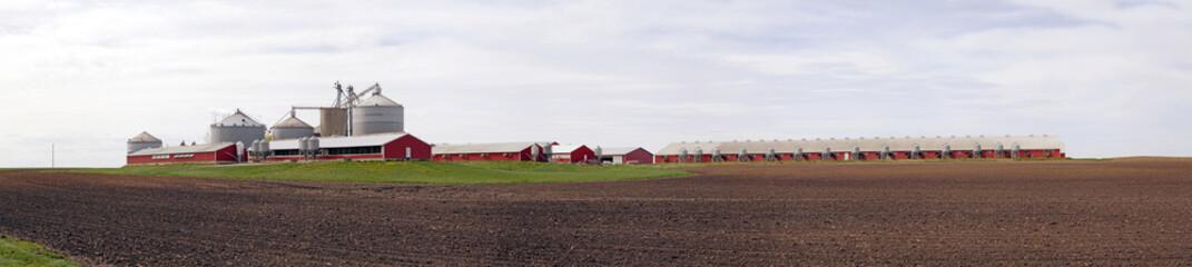 Big Red Farm with stormy sky