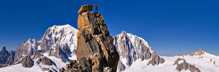 Man on top of the Mont Blanc, Europe
