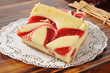 Cheesecake with strawberry swirls