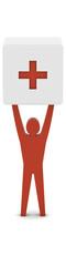 Man holding the plus sign. Concept 3D illustration.