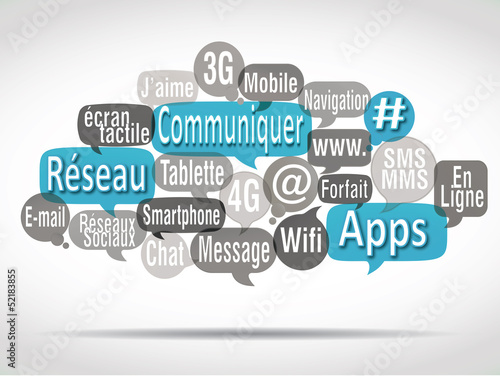 nuage de mots bulles bleues ciel : communiquer