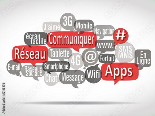 nuage de mots bulles rouges : communiquer
